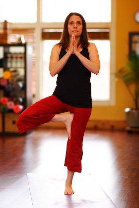 Beth Marek performing Tree Pose